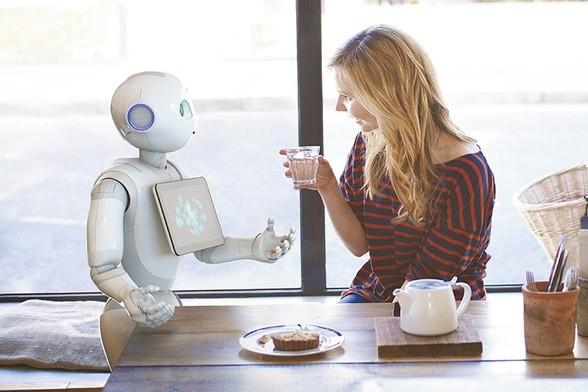 """Fran Pepper (po lewej) - pierwsza maszyna uznana za """"osobę elektroniczną"""", w rozmowie z anonimową przedstawicielką homo sapiens (po prawej)."""